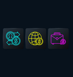 set line job promotion exchange money briefcase vector image