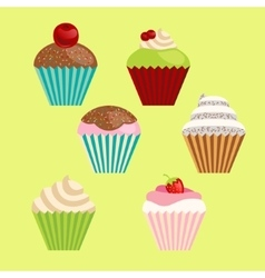 set of cartoon-style cute muffins vector image