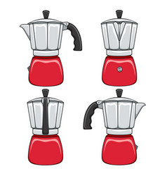 set of color of geyser coffee makers vector image