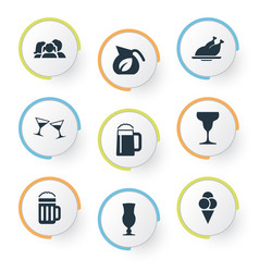 set of simple restaurant icons vector image