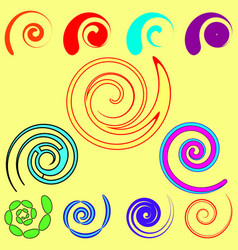 Set of spirals and objects from commas in vector