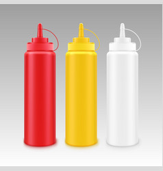 Set white red yellow mustard ketchup bottle vector