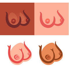 sexy female boobs icons on white and color vector image