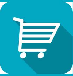 shopping cart icon with long shadows vector image