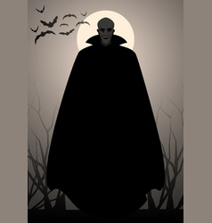 Silhouette of vampire wearing a black cape bats vector