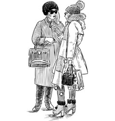 Sketch of fashionable townswomen vector
