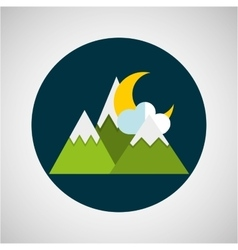Snowy mountains moon cloud weather concept design vector