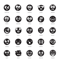 Solid set emoticons icons vector