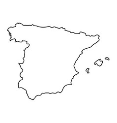 spain map of black contour curves of vector image