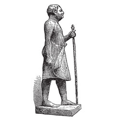 Statue of man made by wood vintage engraving vector