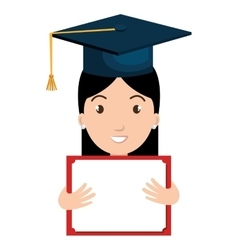 student graduate avatar with diploma icon vector image