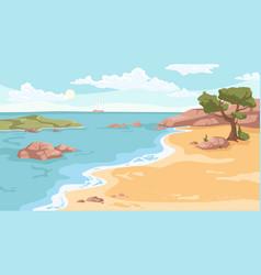 summer beach sea or ocean sandy coastline tree vector image