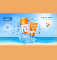 Sunscreen cream tubes in water realistic splash vector