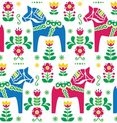 Swedish folk art Dala Daleclarian horse patter vector