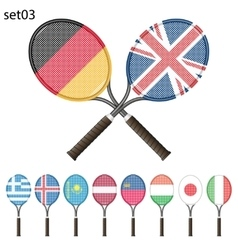 Tennis rackets and flags vector image