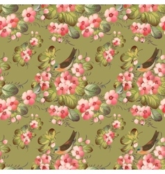 Trendy Seamless Flower Pattern with birds vector