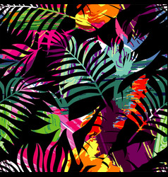 Tropical plants silhouette painting brash vector