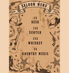 vintage saloon menu template vector image
