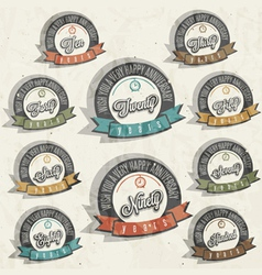 Vintage style anniversary sign collection vector