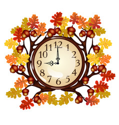 Vintage wall clock with ornate frame of tree vector