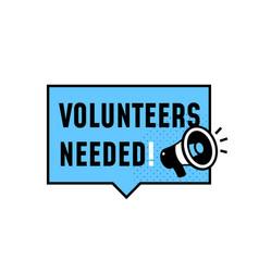 Volunteers needed simple badge label design vector