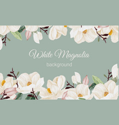 watercolor white magnolia flower branch bouquet vector image