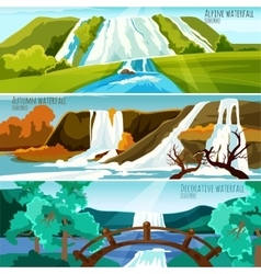 Waterfall Landscapes Banners vector