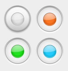 white round buttons normal and active colored vector image