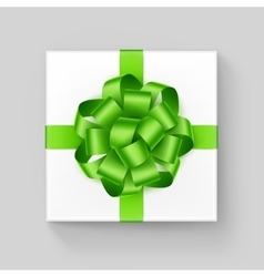 White Square Gift Box with Light Green Ribbon Bow vector