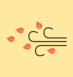 Wind with leafs icon in flat style isolated vector