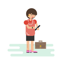 Woman using cell phone vector