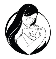 Woman with a child logo a young mother with a vector