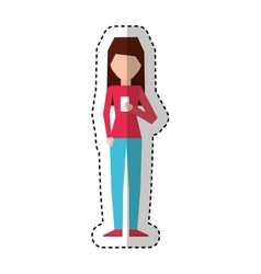 young woman with smartphone avatar character vector image