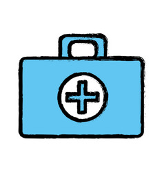 blue medical aid kit emergency care vector image