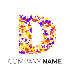 letter d logo with purple yellow red particles vector image vector image