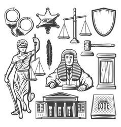 vintage judicial system elements set vector image vector image