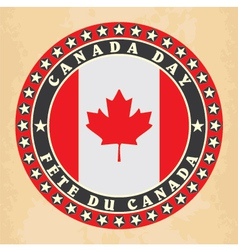 Vintage label with Canada Day vector image