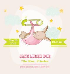 baby girl kangaroo sleeping - baby shower card vector image