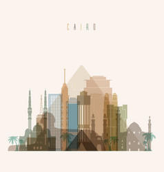 cairo skyline detailed silhouette vector image vector image