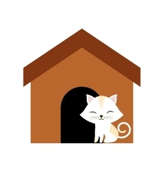 cat clossed eyes feline brown house vector image
