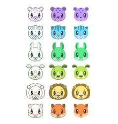 cute cartoon animal faces vector image