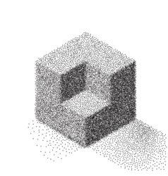 Dotwork Halftone Cube Icon Tattoo Style vector image vector image