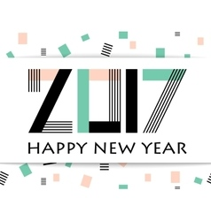 Geometric 2017 Happy New Year greeting card vector image