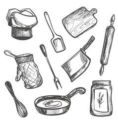 Set of hand drawn kitchen objects vector image vector image