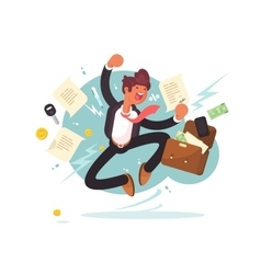 Successful businessman jumping for joy vector image vector image