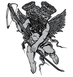 armed two head bad angel vector image