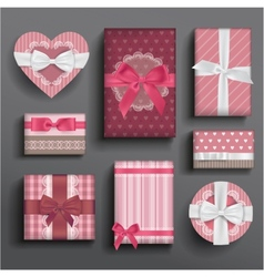 Girly boxes and bows vector image vector image