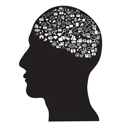 human brain with social media icons set vector image vector image