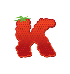letter k strawberry font red berry lettering vector image