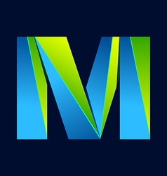 M letter line colorful logo abstract trendy green vector